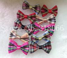 60pcs tartan plaid Gingham Ribbon Bows Flower Appliques Lots Upick