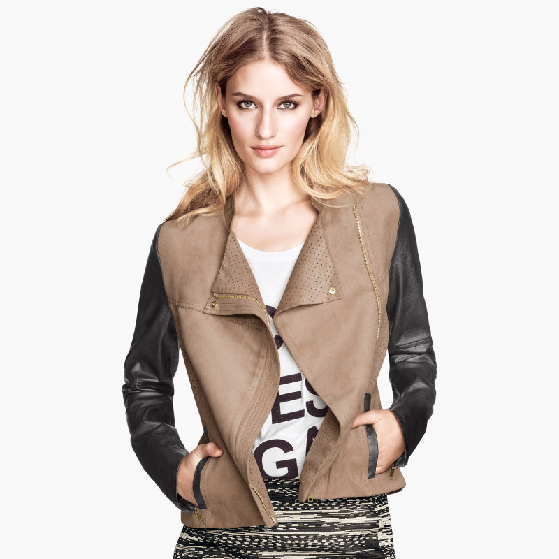 2015 spring autumn stand collar PU leather patched slim motorcycle jackets long-sleeve short jacket womens coat - Temex Fashion Co.,Ltd store