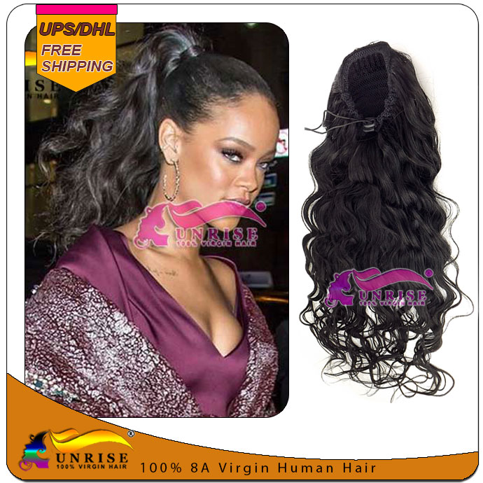 Rihanna Long wavy virgin brazilian human hair ponytail drawstring Clip In Human hair Ponytail Hair extension