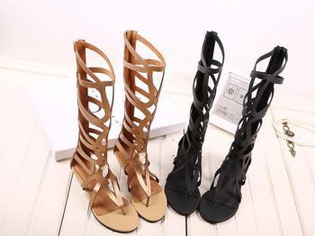 Zapatos Mujer прямые продажи нового среднего ( б, М ) 0 - 3 см женщины Sunmmer Pu сандалии 2015 женщина гладиатор Sandalias Sapato Feminino