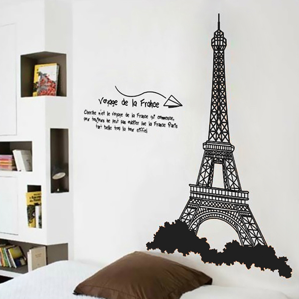 Eiffel tower design wall stickers mural wall sticker home - Sticker mural tour eiffel ...