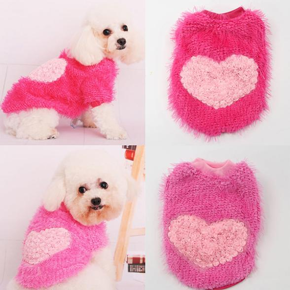 Hot Selling Small Dog Pet Corn Pullovers Sweater Rose Heart Style Warm Puppy Clothes Apparel(China (Mainland))