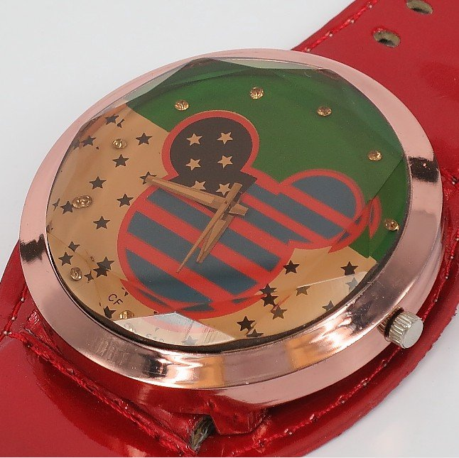 2012 new big red strap, the most popular m its crystal + the American flag + crystal man woman + + children wrist watch(China (Mainland))