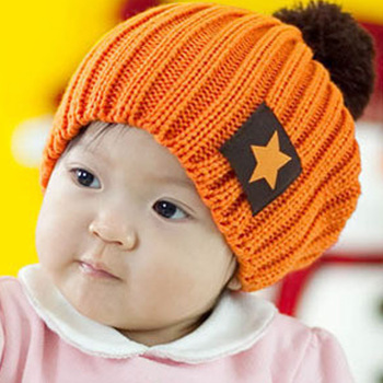 Free shipping 2013 fashion candy color baby knitted hat discontinuing five-star cap the five-star pocket hat