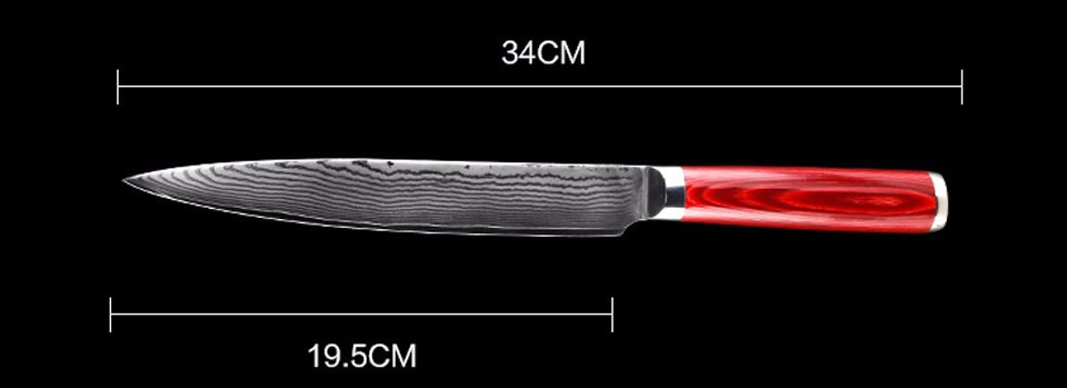 Buy Brand Mr.W 8 inch Damascus Filleti Knife With Wooden Handle Japanese AUS-11 Damascus Stainless Steel Cleaver Knives cheap