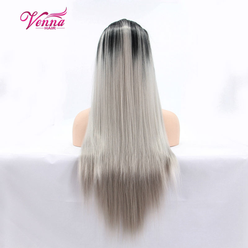 Fashion Ombre Grey with Dark Root Long Straight Front Lace Wig Heat Resistant Synthetic Hair<br><br>Aliexpress