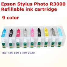 Refillable ink cartridge apply to printer EP  Stylus Photo R3000 chip T1571 T1572 T1573 T1574 T1575 T1576 T1577 T1578 T1579