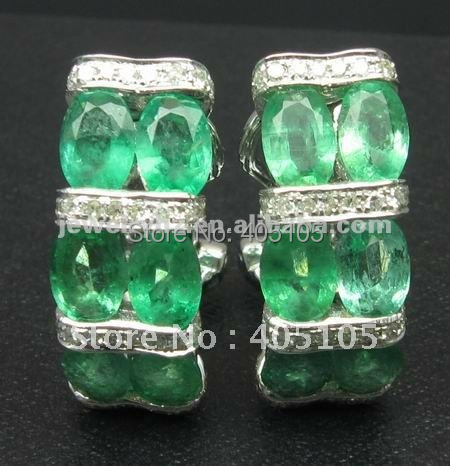 FASHION!!! SOLID 18KT WHITE GOLD 7.52CT NATURAL COLUMBIA EMERALD & DIAMOND EARRINGS JEWELLERYS(China (Mainland))