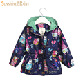 3 Color Autumn Cartoon Graffiti Girls Coats and Jackets Cotton Lining Baby Outwear Kids Zipper Jacket