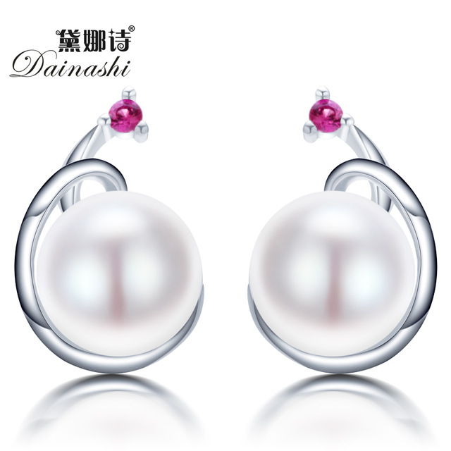 High Quality pearl earrings 925 sterling silver jewelry for women 100% natural freshwater pearl jewelry earring to women girl(China (Mainland))