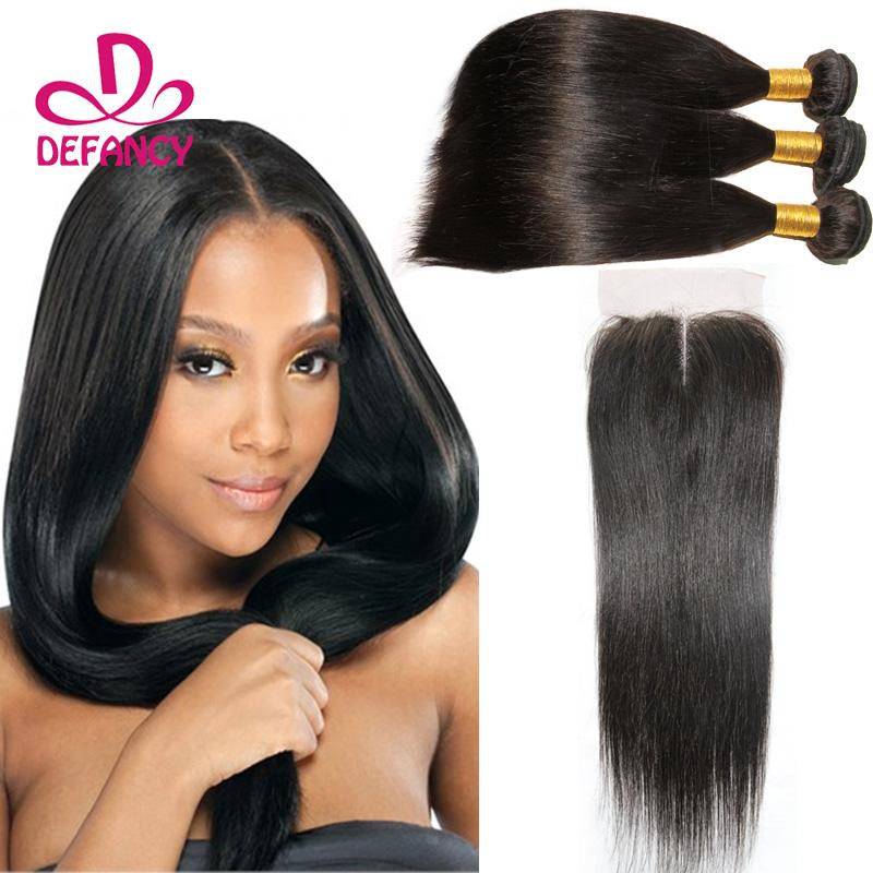 Malaysian Virgin Hair Straight Lace Closure With 3 Bundles Human Hair 4pcs lot Straight Hair Bundles With Lace Closure<br><br>Aliexpress