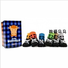 New Arrival Fashion Multicolored Plaid Design Children Socks Slipper 6pairs/Lot Baby Outdoor Shoe Sock(China (Mainland))