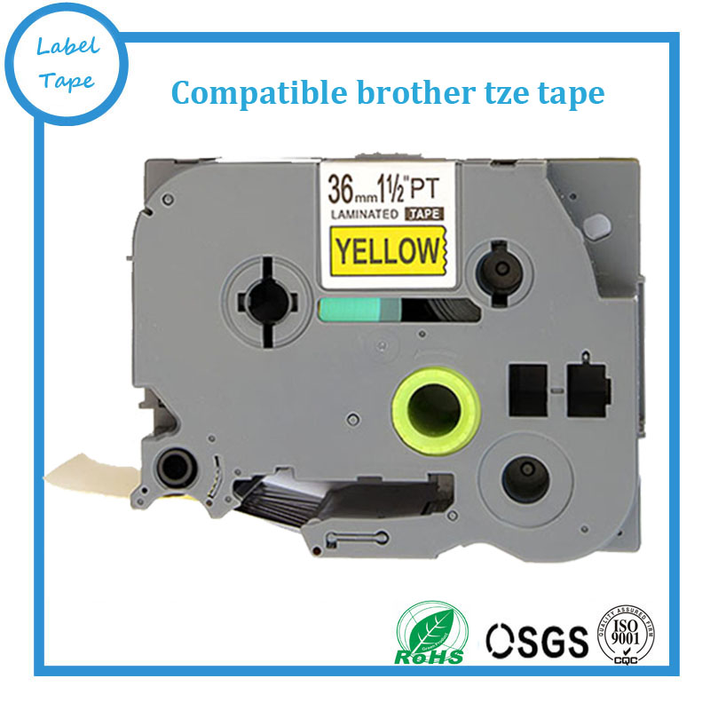 Free shipping 5 pcs Compatible brother 36mm TZE tape TZ-661 tze661 tz661 tze 661 black on yellow label printer tape maker<br><br>Aliexpress