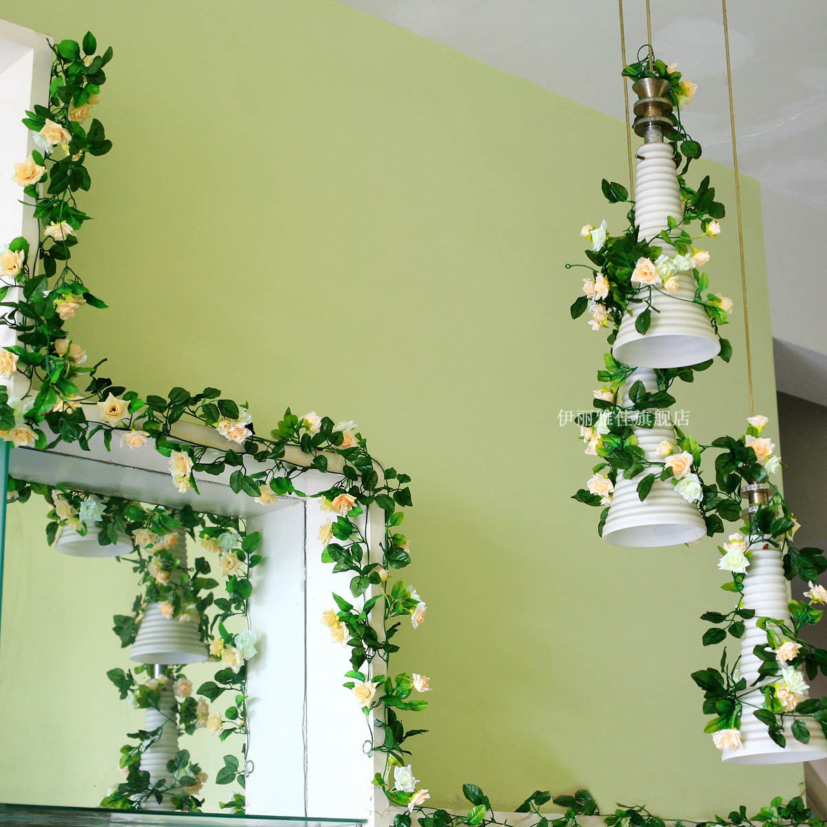 Rose wall decoration artificial flowers vine dried flowers for Artificial flowers decoration for home