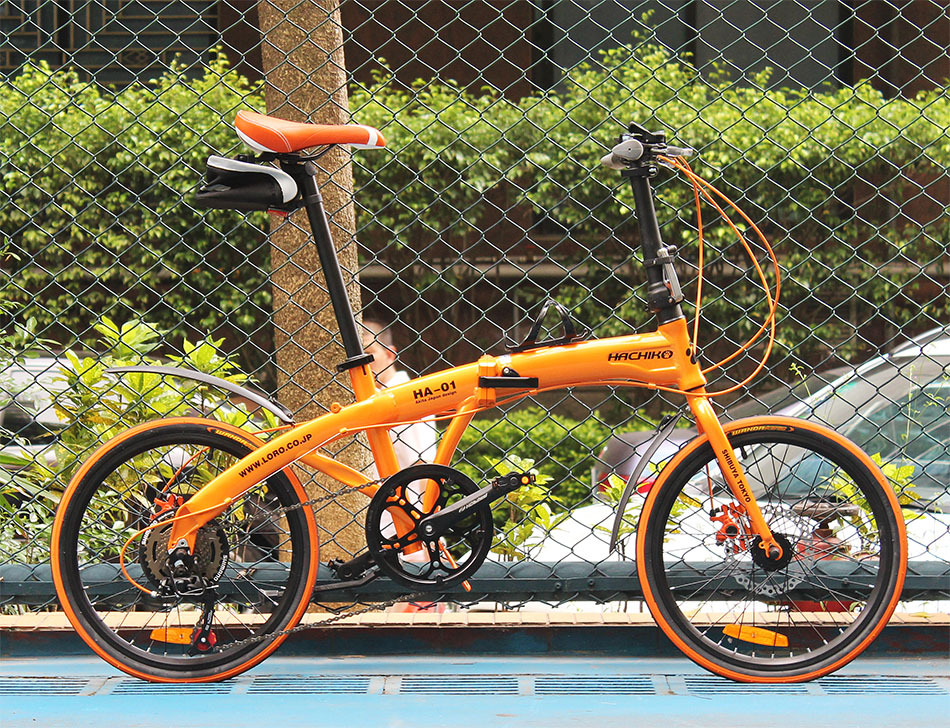 freeshipping HACHIKO 20 inch aluminum alloy/high carbon steel folding bicycle, 7-speed, disc brakes bicycle - HK RealPower Industry Limited store