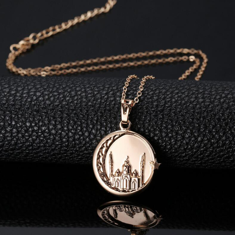Allah Arab Arabic Round Pendant Choker Necklaces Muslim Islam Religious Copper Star Moon For Women Or Men Real Gold Plated(China (Mainland))
