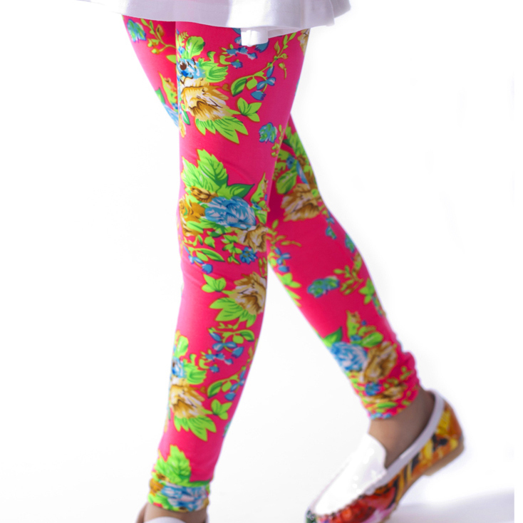 retail free shipping children girl fashion flower legging baby lovely floral pants kids skinny trousers(China (Mainland))
