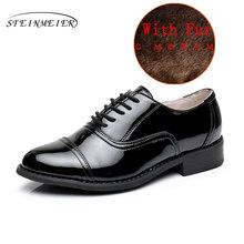 100% Echt cow leather casual designer vintage dame flats schoenen handgemaakte oxford schoenen voor vrouwen 2018 zwart met bont(China)