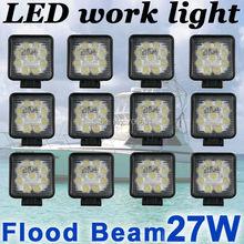 12X 27W Square  LED work Lamp Light Flood Beam Truck Trailer Off Road Marine SUV(China (Mainland))