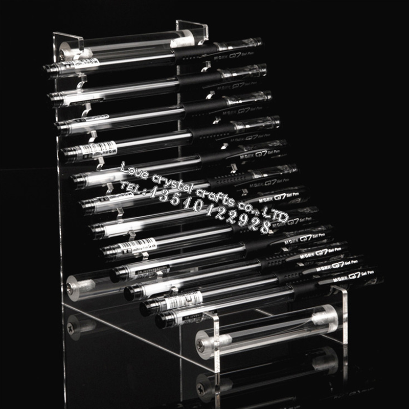 12 Pen Penholder L-shaped Creative Transparent Acrylic High Quality Ballpoint Pen Stand Office Stationers Essential Supplies(China (Mainland))