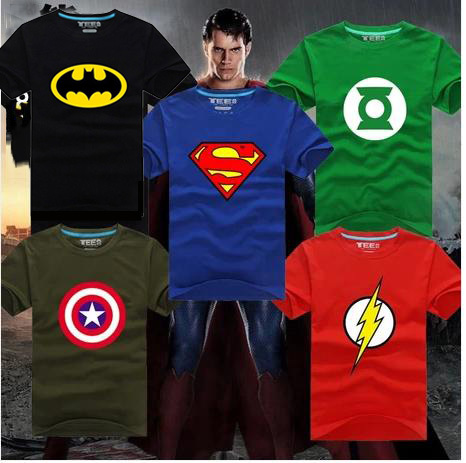 2014 New Fashion Brand Superhero Spiderman Superman Iron Man Captain Flash Batman Tops T-shirt Men Women Clothing Plus SizeОдежда и ак�е��уары<br><br><br>Aliexpress
