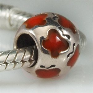 Red Butterfly Enamel Bead Authentic 925 Sterling Silver Charm Fits Pandora Charm Biagi Troll Beads Europen Style Bracelets(China (Mainland))