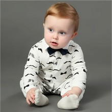 Handsome Baby Rompers Infant Newborn 0-24M Bow Romper Costume Cotton Tie Jumpsuit Clothes Gentleman Body Suit Baby Boys Clothing