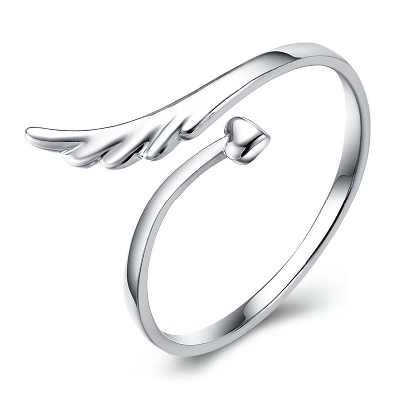 Free shipping 925 sterling silver rings angel wings high end mirror surface heart woman open design classic jewelry wholesale(China (Mainland))