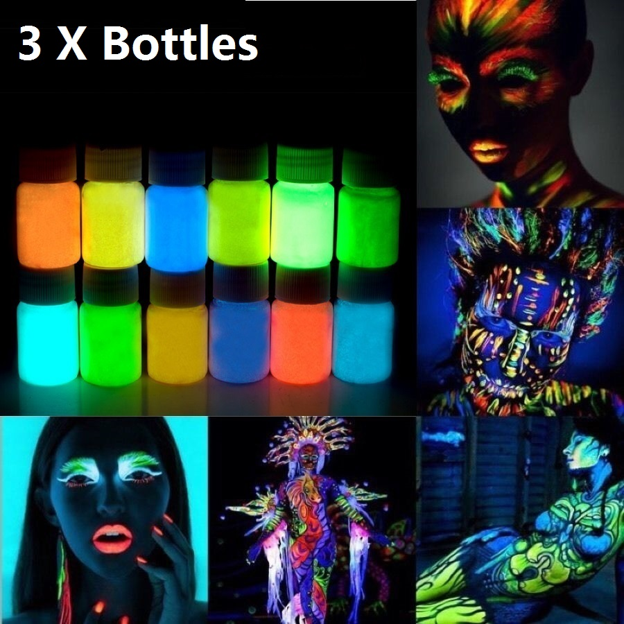 3pcs 25g Glowing Face Body Paint Glow In The Dark 12 Colors Lumious UV Acrylic Paints for Party & Halloween Body Makeup(China (Mainland))