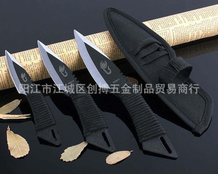 Buy ( 3 in 1), Pocket Knife Tactical Fixed Blade Knife Survival Outdoor Hunting Camping Knives Knife tools + Sheath N414 cheap