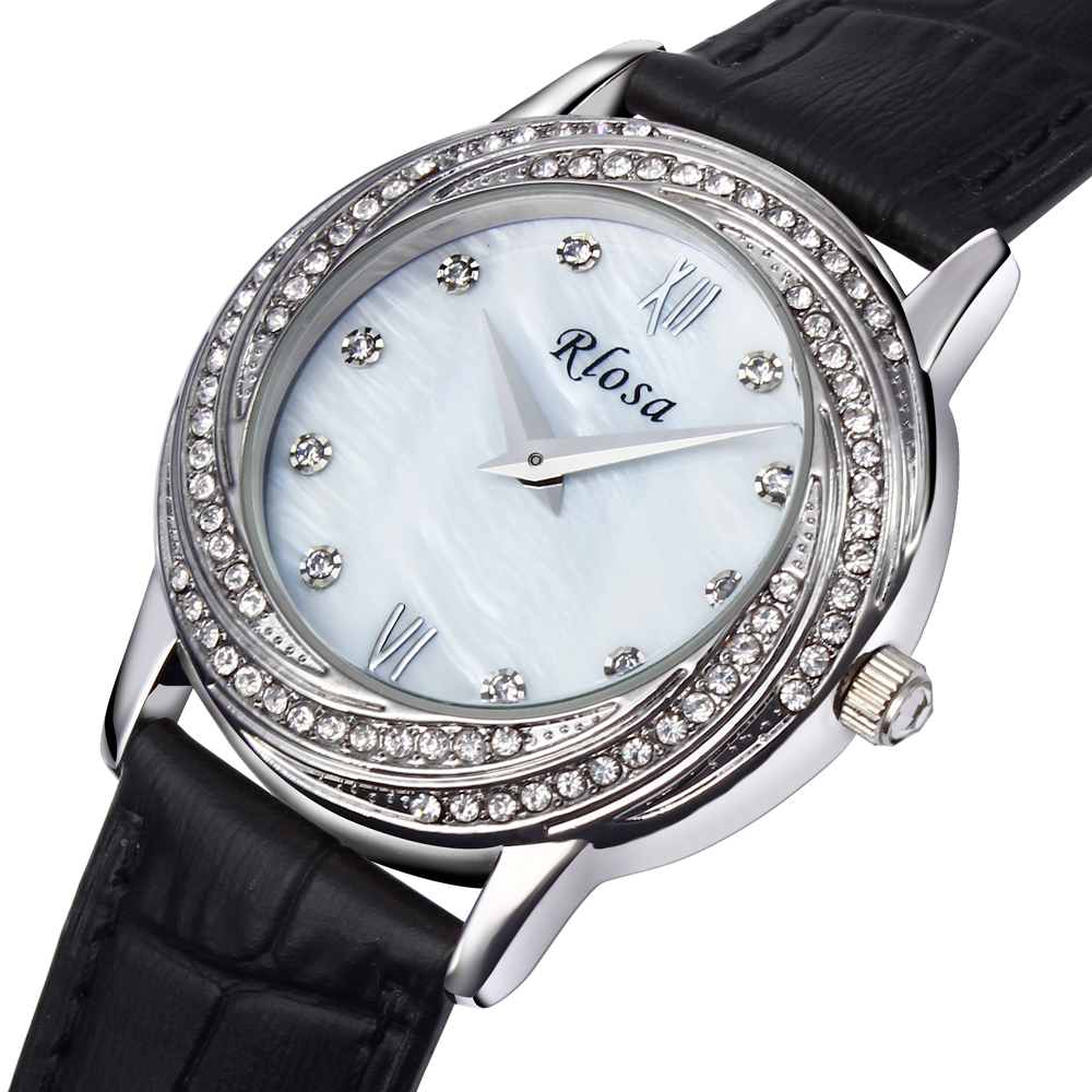 DC1989 New Look Fashion Women Wrist Watch Platinum Plated Made with Genuine Leather Strap & Crystals Japan Movement MOP Dial(China (Mainland))