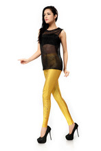 2015 New Women Sportwear Running Tall Waist Exercise Trousers Leggings Water Drip Yellow Print Leggings Fitness Pants