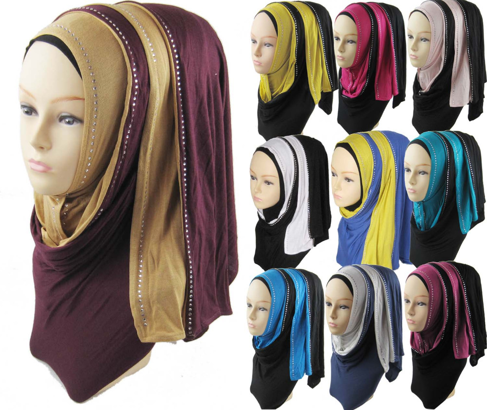 Plain Viscose Hijab High Quality Jersey Hijabs Caps Two Tones diamond Muslim Head Scarf Soft Scarf Shawl C42(China (Mainland))