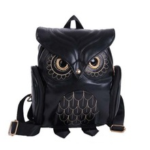 Fashion Embossing Owl Backpack Women Small 2 Color Leather Schoolbag Backpacks Korean Cute Mini Backpack For Teenage Girls