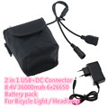 2 in 1 DC USB Connectors 8 4V 36000mAh 6x 26650 Rechargeable Battery Pack for Led