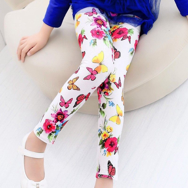 High quality Girls Leggings Children Pants Baby Clothing Printed Flower Butterfly Girls Pants(China (Mainland))