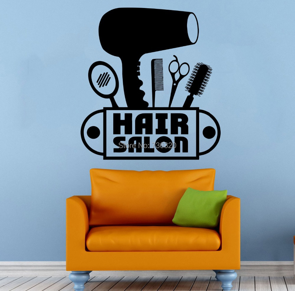 hair salon wall decal vinyl sticker beauty barber shop. Black Bedroom Furniture Sets. Home Design Ideas