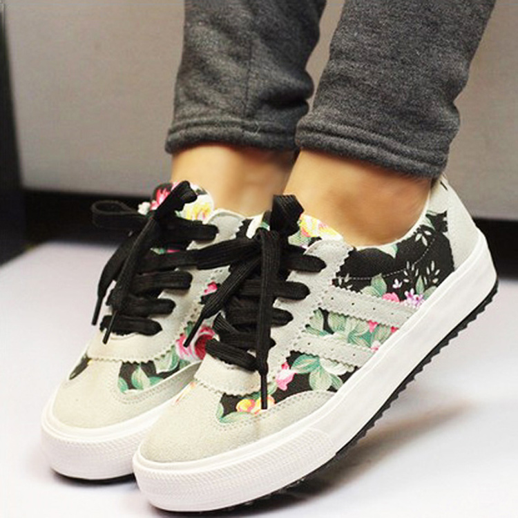 Casual women shoes zapatos mujer 2016 new fashion printed casual shoes woman canvas shoes women