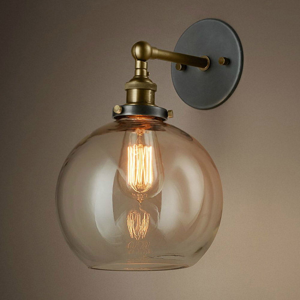 Ball Shape Wall Lamp Industrial Vintage E27 Wall Light Bar Cafe Store Glass Lampshade Decor Lighting<br><br>Aliexpress