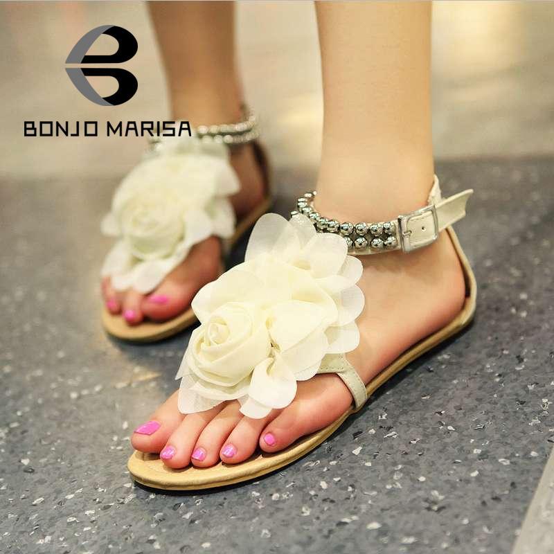 Big size 34-43 2015 Gladiator Sandals for Women Bohemia Beaded Summer Flower Flat Heels Flip Flops Women's Shoes Tstraps Sandals(China (Mainland))