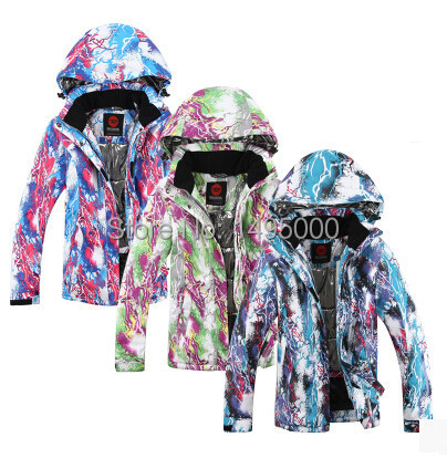 2015 Freeshipping DIscount Fashionest Style with lightining photos female ski jackets also waterproof windproof most suitable(China (Mainland))