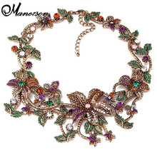 2015 New Arrival Fashion Luxury Brand za flower Pendants & Necklaces Vintage Crystal Collares Statement Necklace  Jewelry B431(China (Mainland))