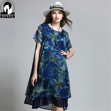 Buy European Summer Dress O-neck Big size women Fashion print loose short-sleeved chiffon dresses Plus size women clothing vestidos for $27.27 in AliExpress store
