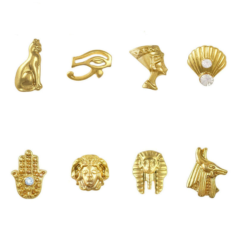 100pcs Mix Egypt Theme 8 Designs 3D Gold Nail Art Alloy Decorations(China (Mainland))