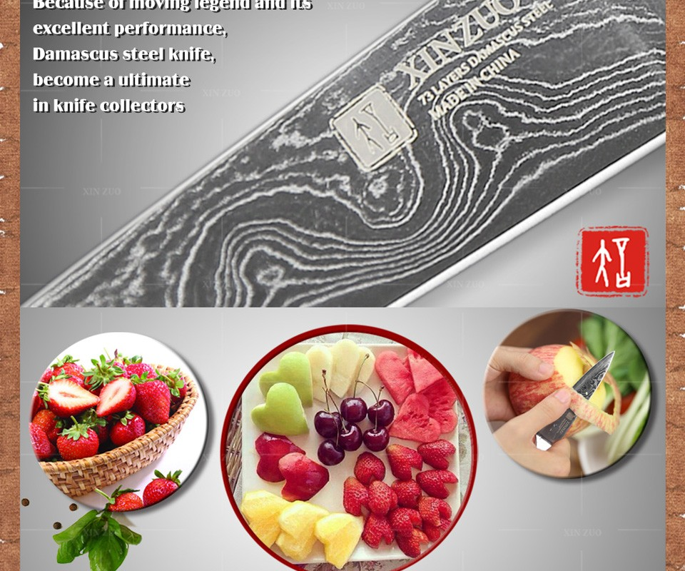 "Buy NEW 3.5"" inch paring knife 73 layers Japan Damascus kitchen knife sharp peeling fruit knife with Color wood handle free shipping cheap"