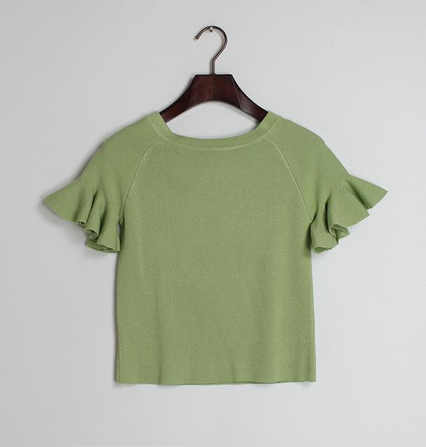 Мода лето женщин вязаный свитер топы оборками рукавом женщины твердых вязание свитера ...