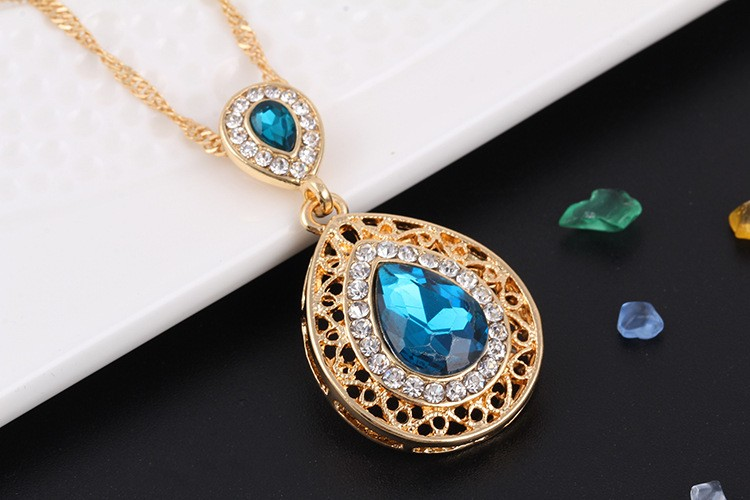 Gold Plated Vintage Flower Full Rhinestone Filled Big Waterdrop Crystal Pendant Necklace Earrings Bridal Wedding Jewelry Sets