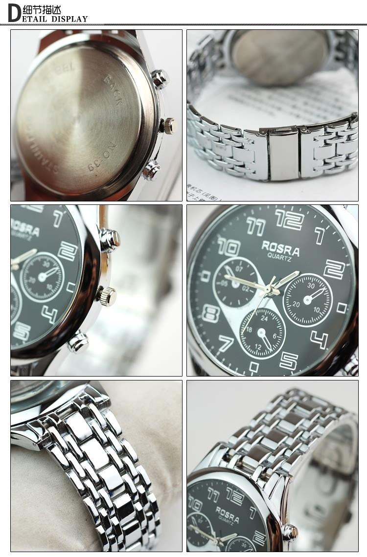 New brand high quality Quartz Watches Men Luxury Brand Three Eyes Full Steel Watch Casual Style