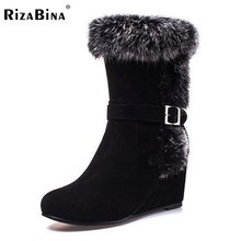 Buy women wedge half short boot fashion warm plush winter thickened fur botas mid calf snow boots footwear shoes P21959 size 32-43 for $35.69 in AliExpress store