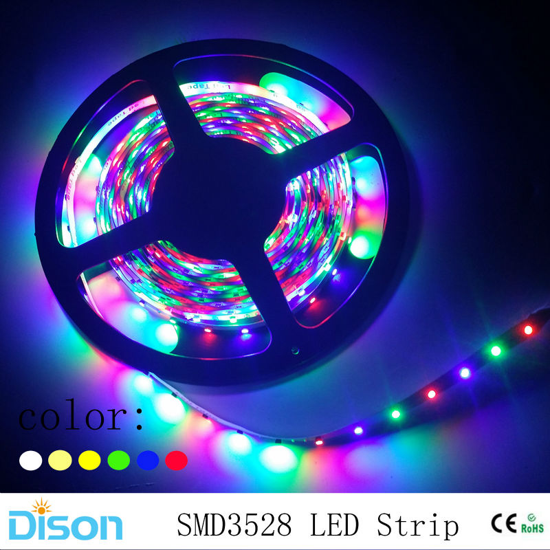 Blue Led Tape Lighting: 5m/roll 3528 SMD RGB LED Strip Lighting Flexible Diode